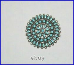 Zuni signed EG Sterling Sleeping Beauty Turquoise Needle point Brooch Pendant